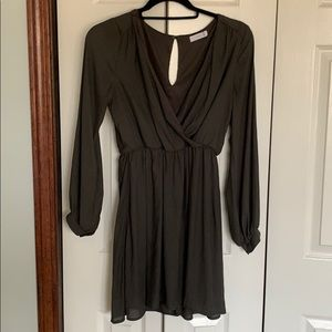 Olive green wrap style dress